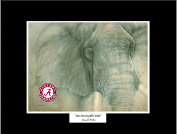 Giclee - The Alabama Elephant - Mini Prints - White, Red, and Black Matted